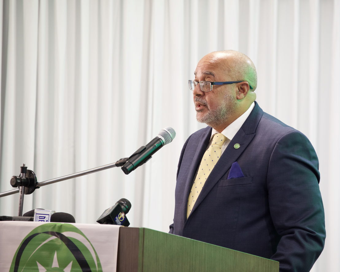 Director General of the OECS Commission, Dr. Didacus Jules, delivers remarks at the Opening Ceremony of the 65th OECS Authority Meeting.