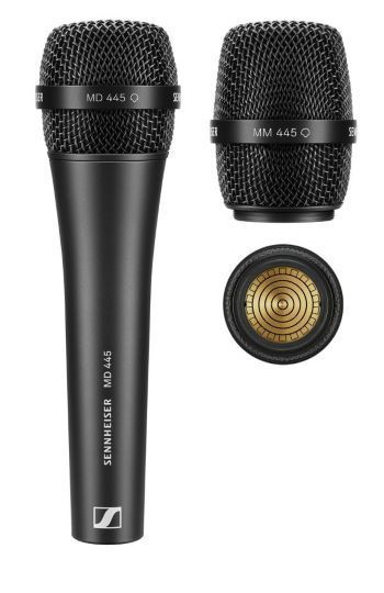 The wired, super-cardioid MD 445 vocal microphone and the MM 445 microphone head (pictured with the capsule interface) for use with Sennheiser wireless transmitters