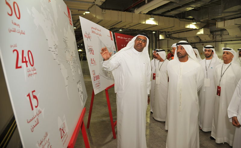 Nabil Sultan, Emirates Divisional Senior Vice President, Cargo, shows His Highness Sheikh Ahmed bin Saeed Al Maktoum, Chairman and Chief Executive of Emirates Airline and Group, and members of the VIP delegation touring the facilty, some facts and figures about Emirates SkyCentral.