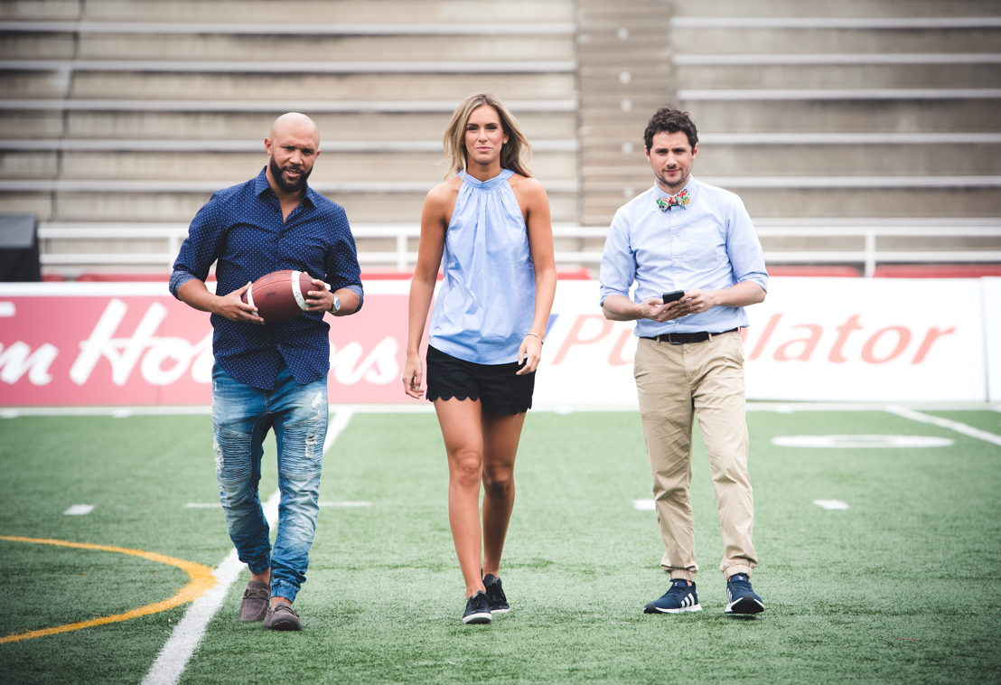 (L->R) Davis Sanchez, Brodie Lawson, and Max Rosenberg. Photo credit: Johany Jutras/CFL