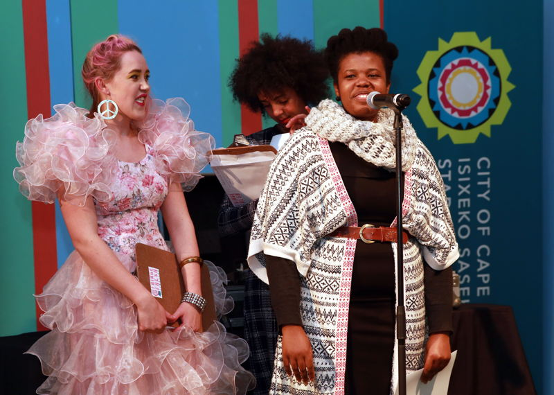 Pretina de Jager, Buhle Ngaba and Mombasa at the Fringe Fresh Awards 2016 - pic Nardus Engelbrecht