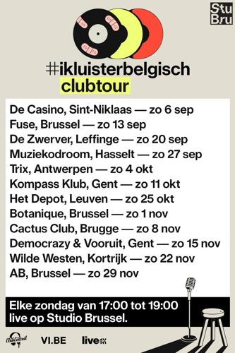 Studio Brussel steekt Belgische livesector hart onder de riem met #ikluisterbelgisch clubtour