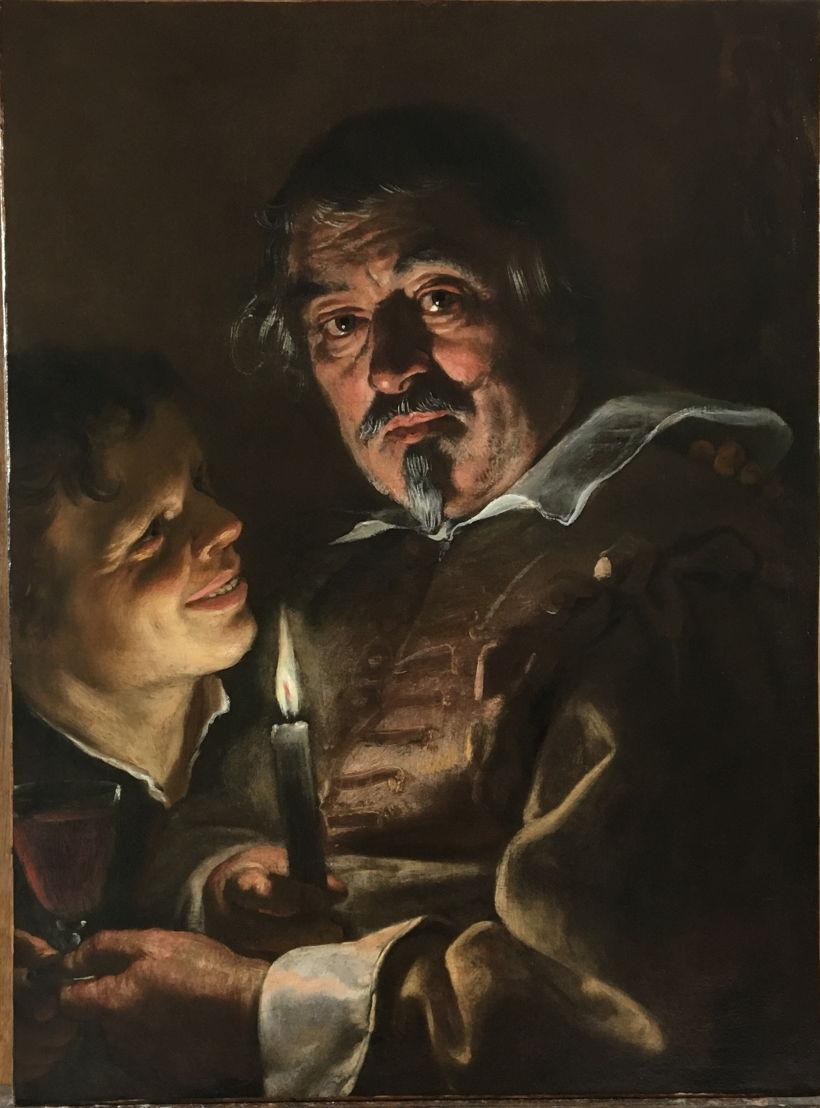 Adam de Coster, Een man en een jongen bij kaarslicht. Particuliere verzameling, Verenigd Koninkrijk, in langdurig bruikleen aan het Rubenshuis.