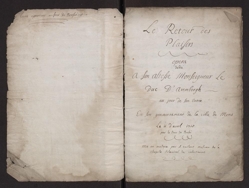 Titelblad 'Le Retour des plaisirs' Mus. Ms. 4448