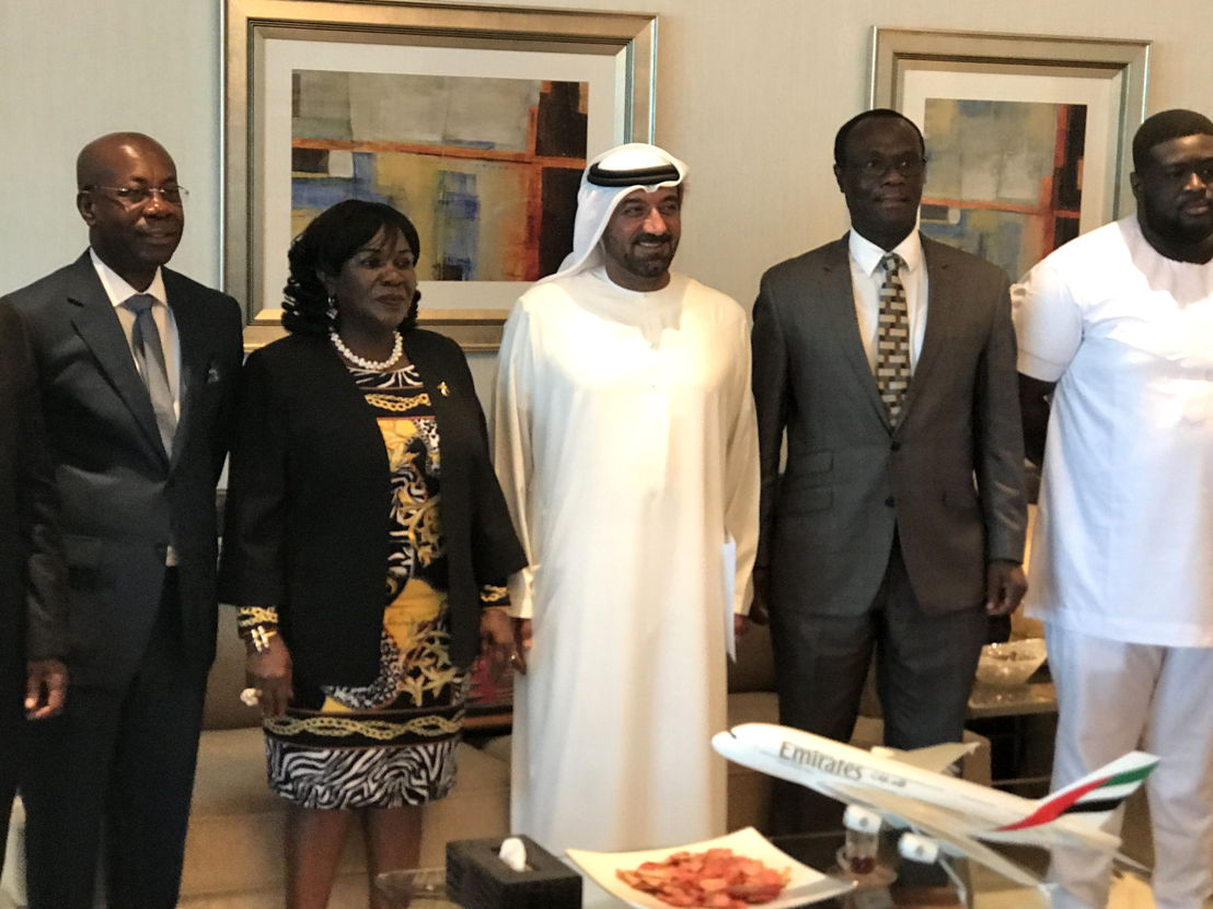 Pictured at the meeting in Dubai, left to right are John Attafuah - Managing Director, Ghana Airport Company; Hon. Cecila Dapaah, Minister for Aviation, Ghana; His Highness Sheikh Ahmed bin Saeed Al Maktoum, Chairman and Chief Executive, Emirates Airline and Group; Simon Allotey, Director General, GCAA and Peter Derrick Osei-Kwame, co-ordinator of the trip.