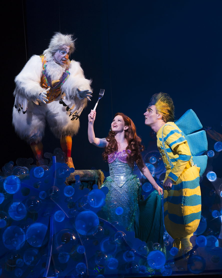 Jamie Torcellini as Scuttle, Alison Woods as Ariel and Adam Garst as Flounder.  Photo by Bruce Bennett, courtesy of Theatre Under The Stars.