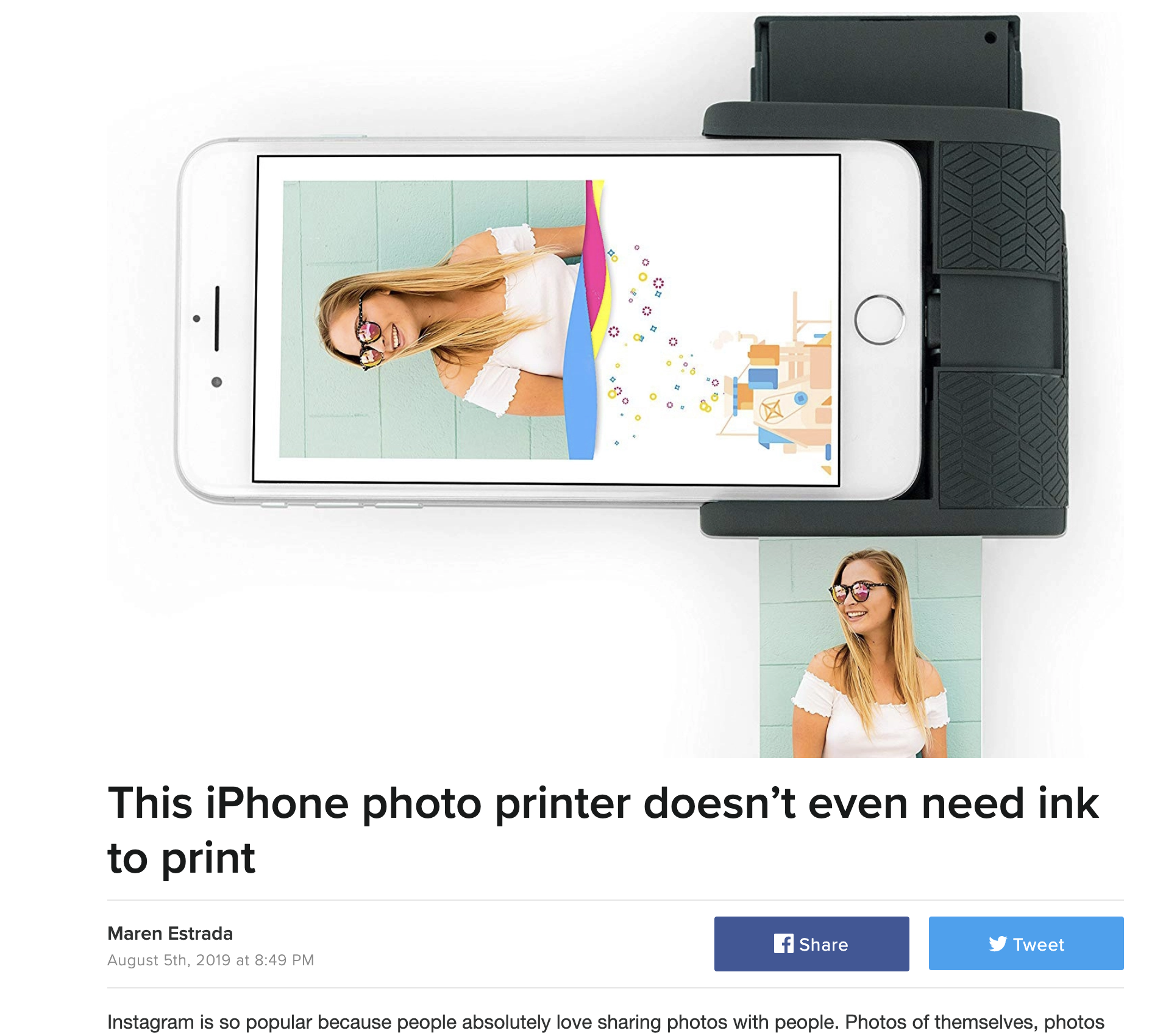 This iPhone photo printer doesn't even need ink to print