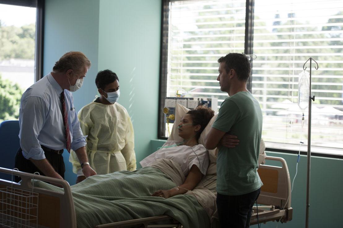 Owen Teale as Prof Chad Berger, Arka Das as intern Tabb Patel, Melissa Bonne and Troy Harrison