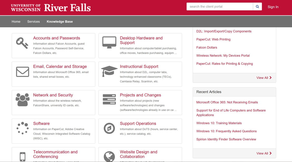 University of Wisconsin-River Falls relies on TeamDynamix to run its IT service department in the cloud.