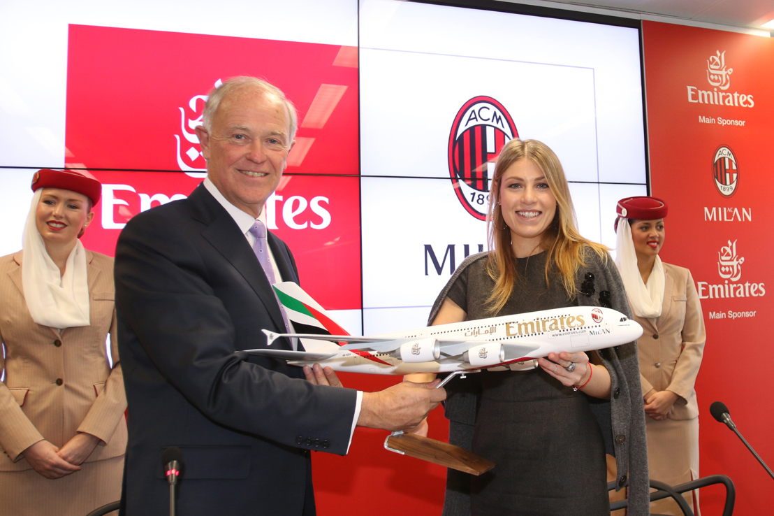 President Emirates Airline, Sir Tim Clark with AC Milan's President Barbara Berlusconi during a press conference at the Club's headquarters, Casa Milano