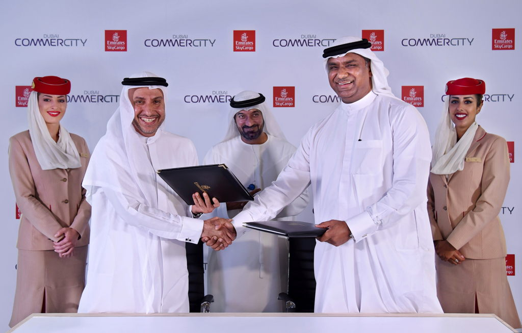 The MoU between Emirates SkyCargo and Dubai CommerCity was signed in the presence of His Highness Sheikh Ahmed bin Saeed Al Maktoum, Chairman and Chief Executive Officer, Emirates airline and Group, by Nabil Sultan, Emirates Divisional Senior Vice President, Cargo and His Excellency Dr. Mohammed Al Zarooni, Director General - Dubai Airport Free Zone Authority (DAFZA)