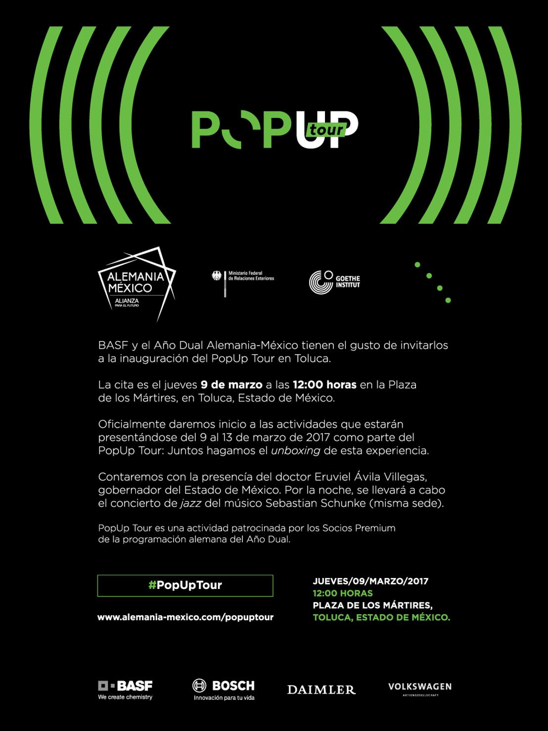 Invitación Inauguración PopUp Tour Toluca