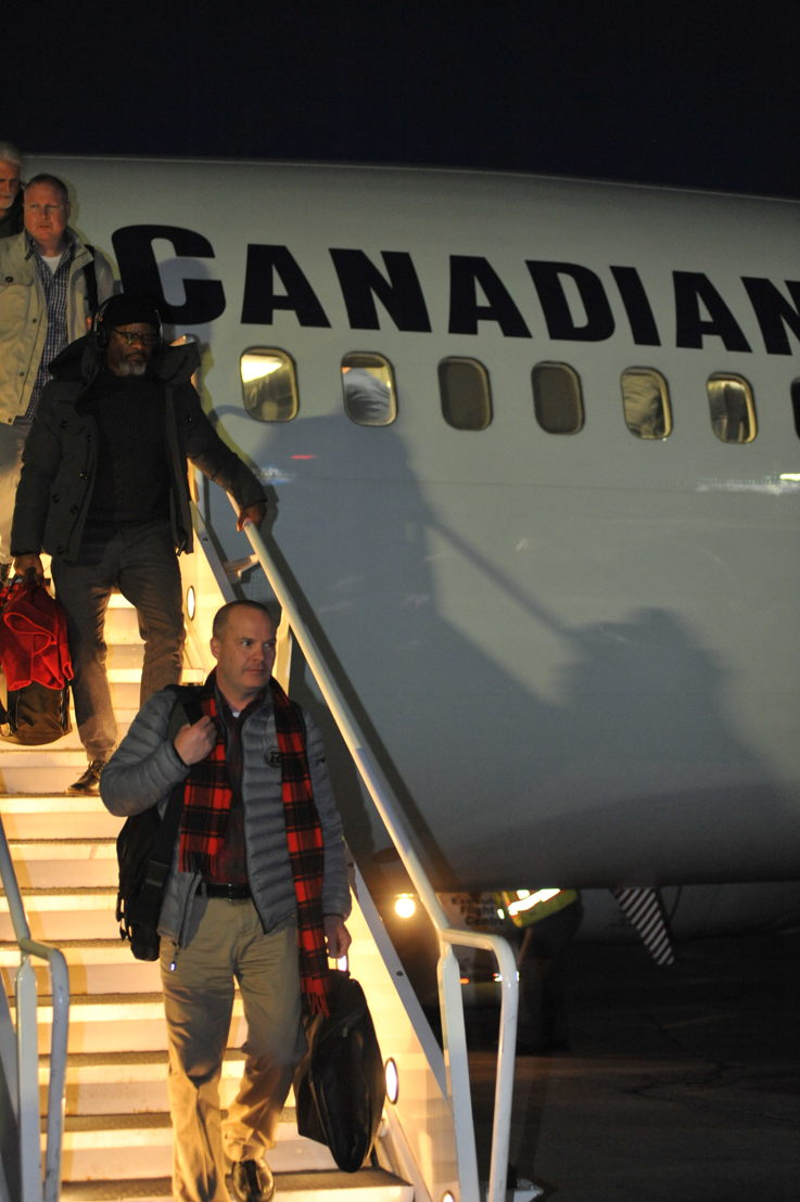 The Ottawa REDBLACKS arrive in Edmonton for the 106th Grey Cup presented by Shaw. Photo credit: Walter Tychnowicz/CFL.ca