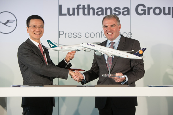 Cathay Pacific Chief Executive Ivan Chu and Carsten Spohr, Chairman of the Executive Board and CEO of the Lufthansa Group.