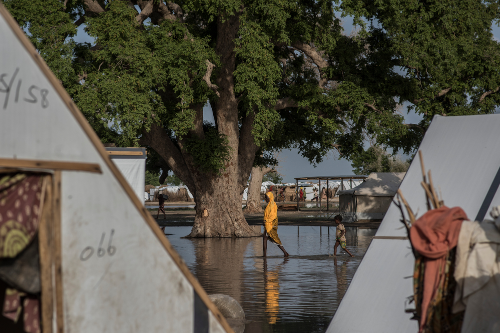 Shelters under water during the rainy season in Rann. Photographer: Sylvain Cherkaoui/COSMOS