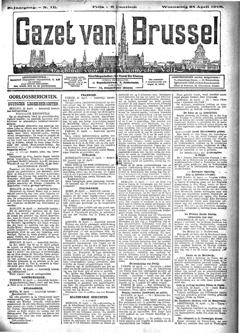 Voorpagina Gazet van Brussel, 24 april 1918