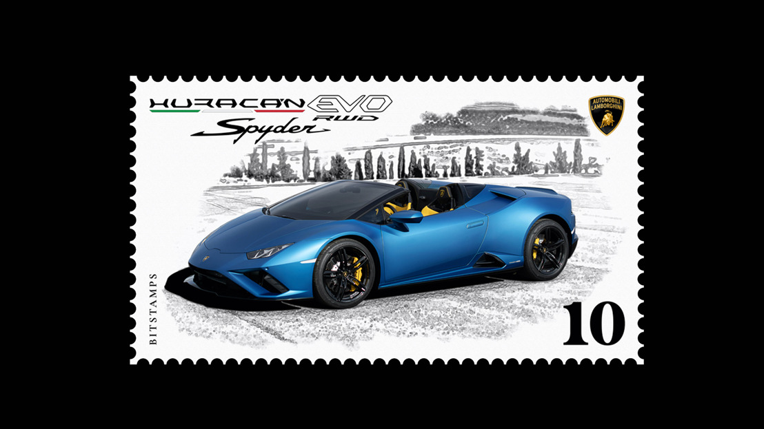 Automobili Lamborghini launches its first collector's digital stamp in collaboration with Bitstamps, dedicated to the Huracán EVO RWD Spyder