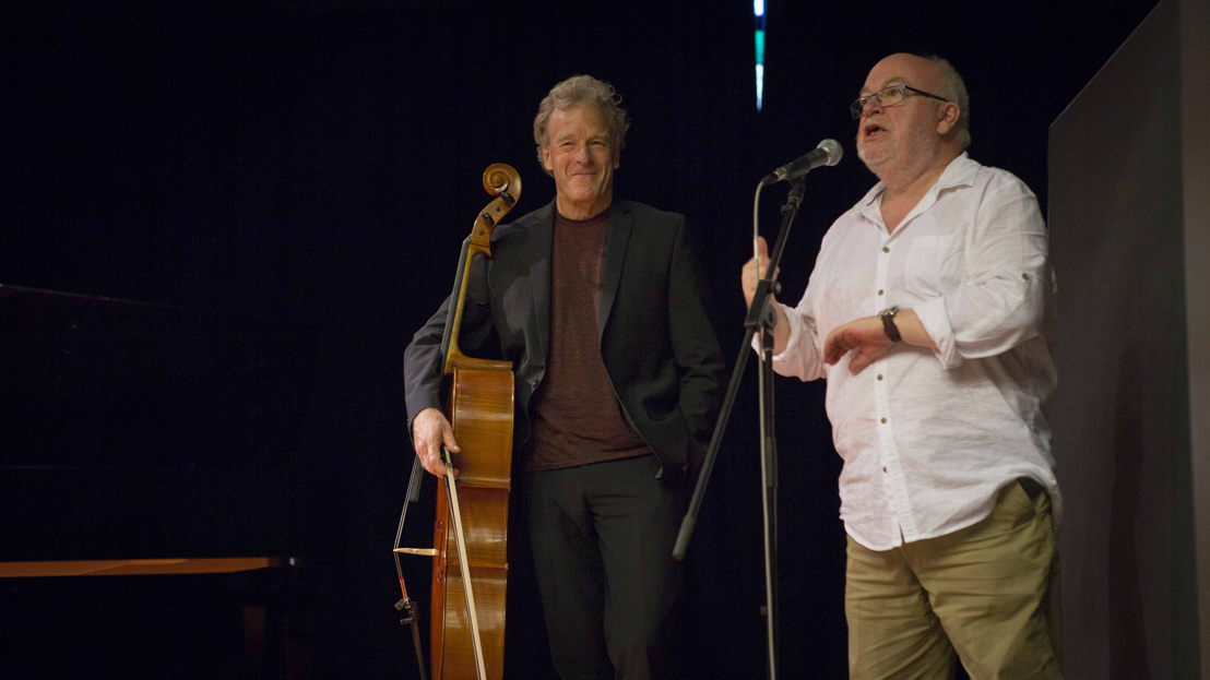 Composer Andrew Ford  with Cellist David Periera at ANU. Image: Lannon Harley