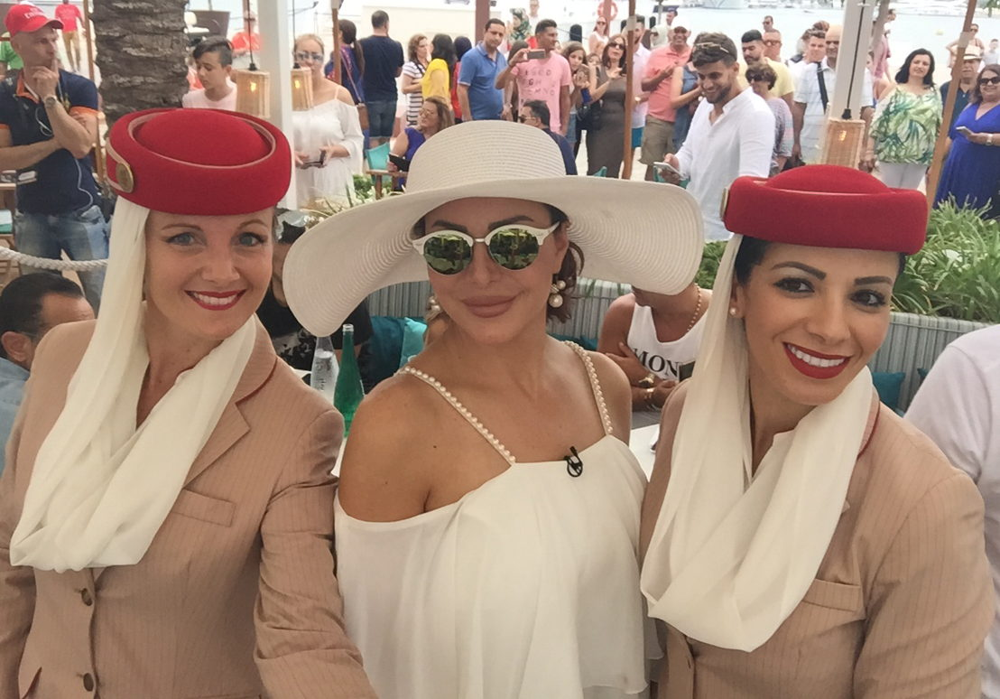 Emirates Cabin Crew joins Suzan Najm Aldeen at the 2016 Stars on Board sea cruise event.