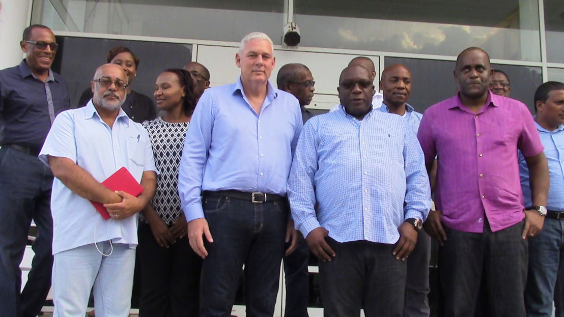 The OECS Delegation meets with Prime Minister Harris in Saint Kitts.