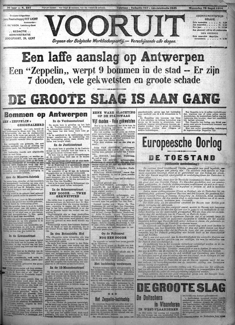 La Une du Vooruit du 26 août 1914
