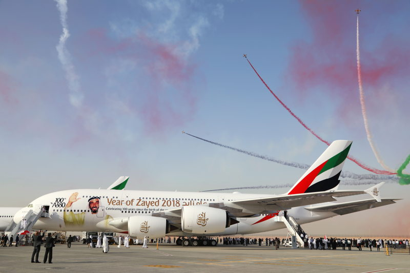 """Both Emirates' Boeing 777-300ER and A380 aircraft were decorated with the """"Year of Zayed"""" decal as a tribute to the late founding father of the UAE."""