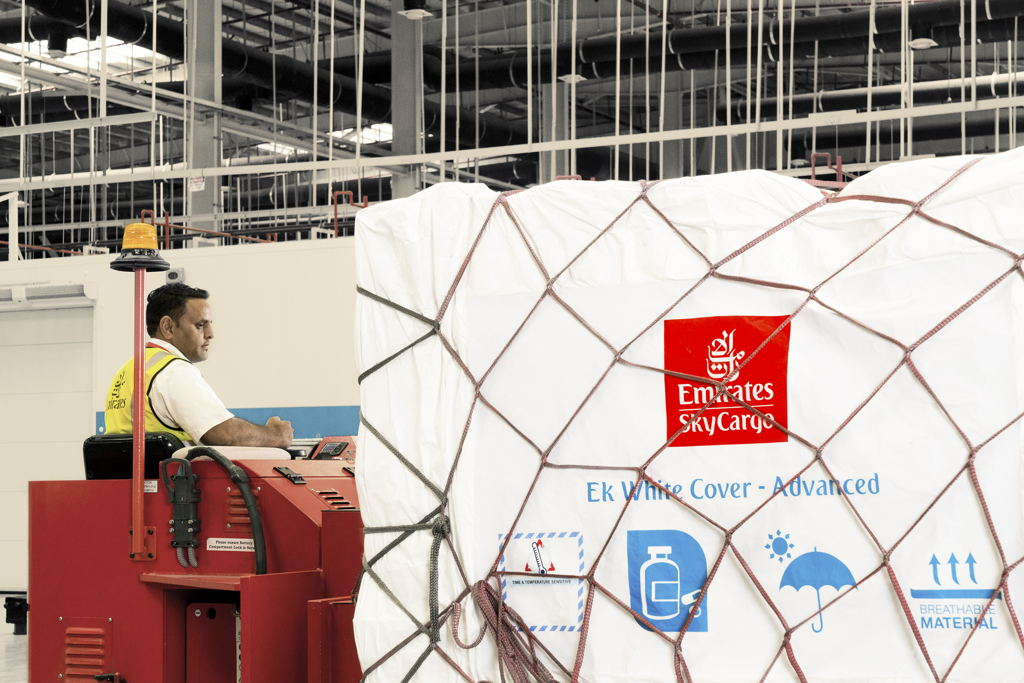 Emirates SkyCargo's White Cover Advanced is an affordable and environmentally-friendly solution for protecting pharmaceutical products during air transportation.