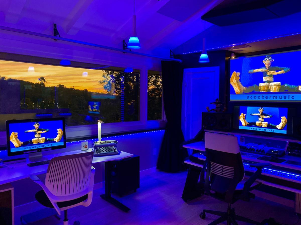 ScooterMusic Studio at dusk