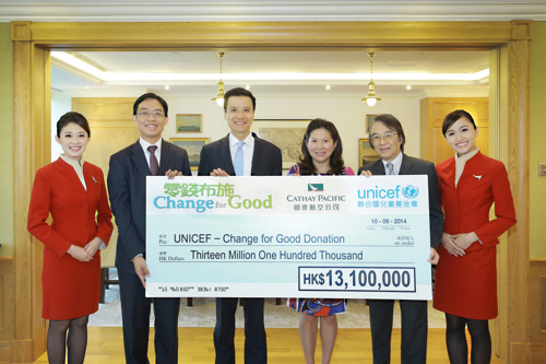 Change for Good raised over HK$13.1 million in 2013 to help underprivileged children worldwide