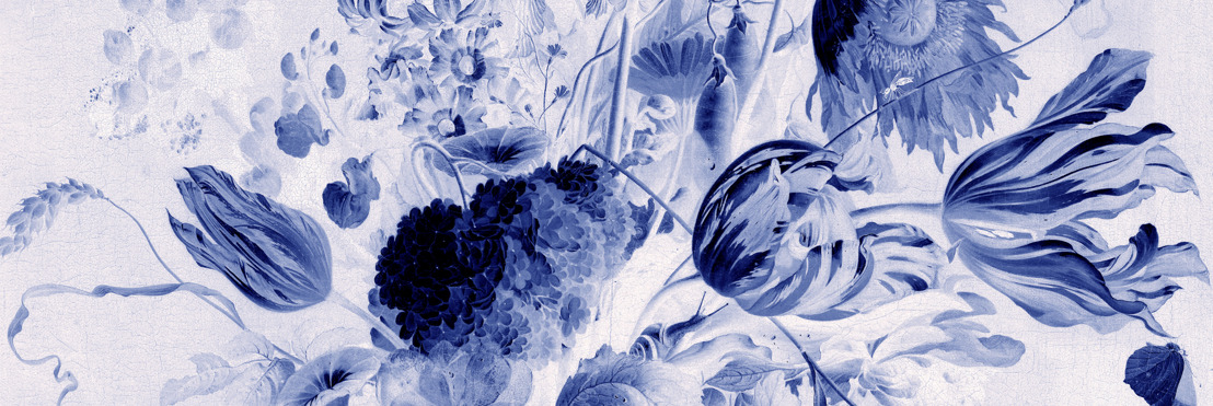Famous floral paintings recreated as 'Delft' wall murals