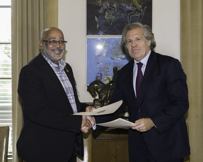 From left to right:<br/>Dr. Didacus Jules, Director General, of the Organization of Eastern Caribbean States<br/>Luis Almagro, OAS Secretary General