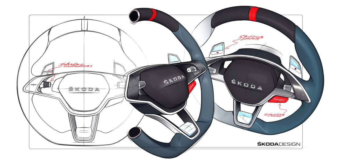 The sports steering wheel with a distinctive centre<br/>marking - similar to those seen in motor racing.