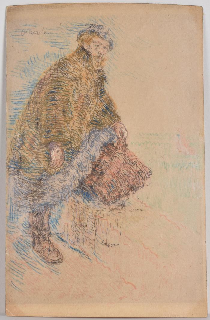 Une carte postale de James Ensor : acquise par la Bibliothèque royale de Belgique, l'objet se révèle rarissime