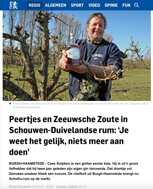 Provinciale Zeeuwse Courant schrijft over Peertjes en Zeeuwsche Zoute in Schouwen-Duivelandse rum