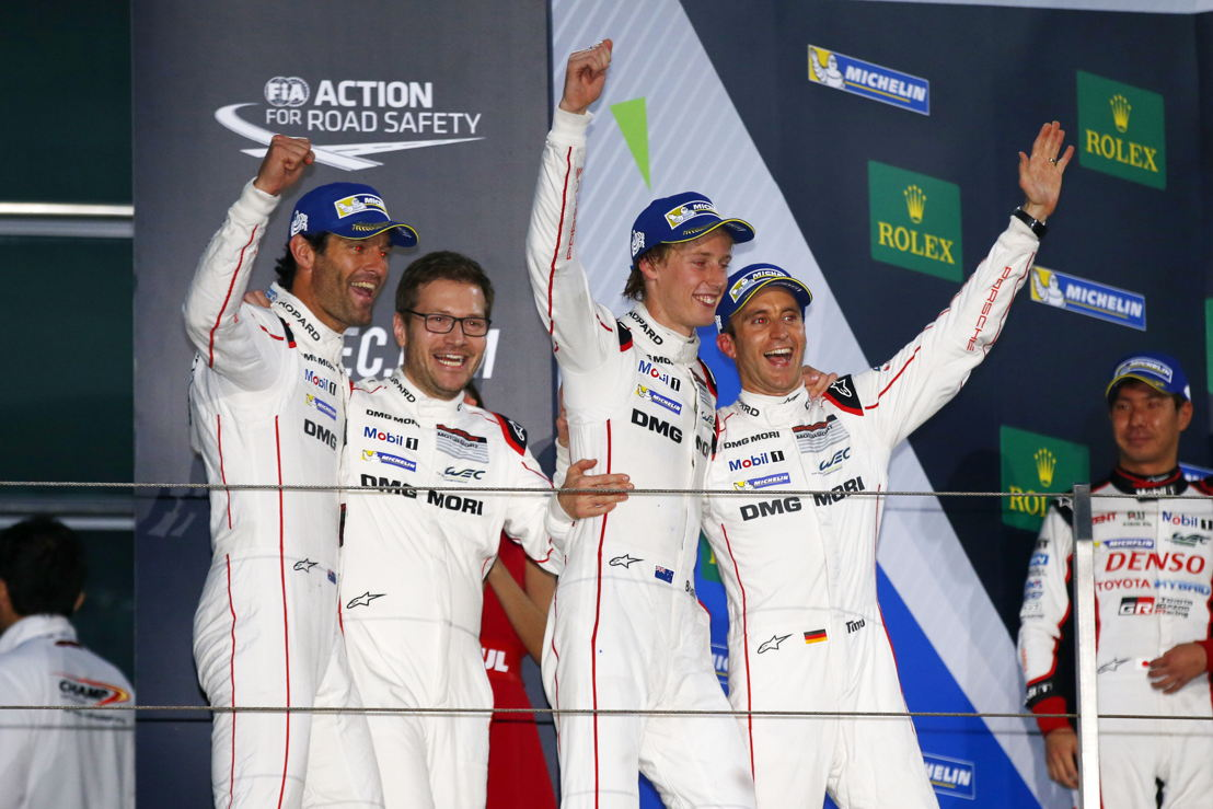 Shanghai (CN) 2016: Porsche Team: Mark Webber, Andreas Seidl, Team Principal Porsche Team, Brendon Hartley, Timo Bernhard (l-r)