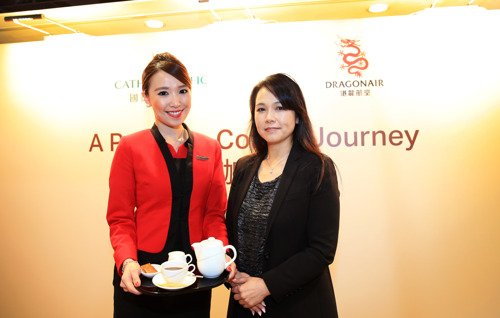 First and business class passengers enjoy freshly brewed illy coffee on Dragonair flights