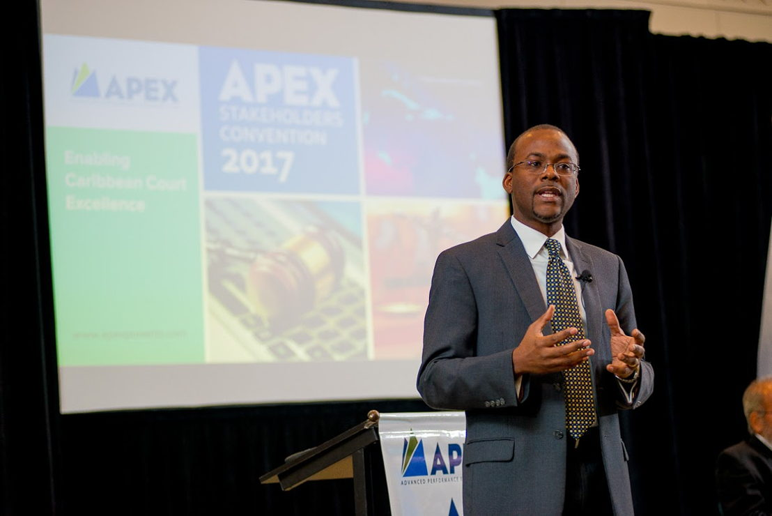 Bevil Wooding, Executive Director of APEX delivers opening remarks.