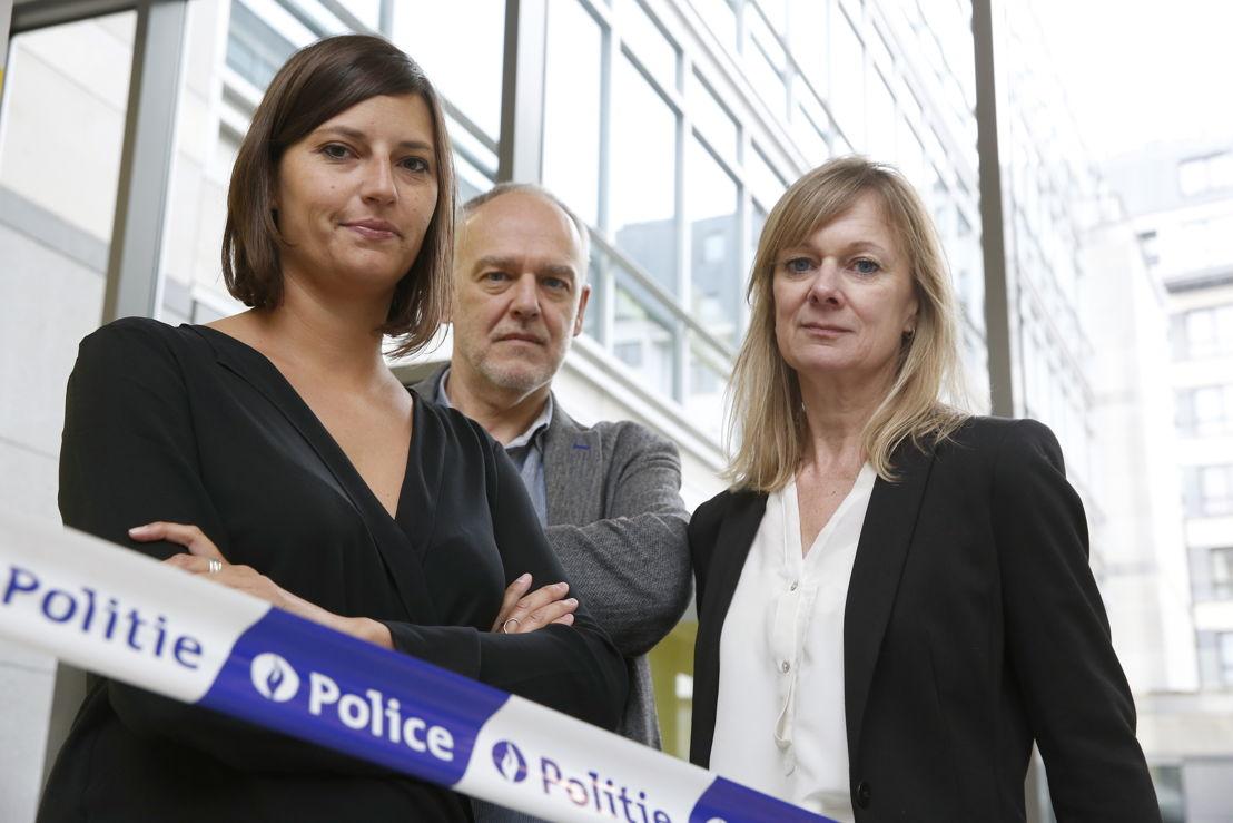 Dirk Leestmans en Caroline Van den Berghe met Justine Katz (RTBF)