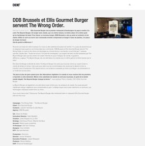 DDB Brussels et Ellis Gourmet Burger servent The Wrong Order.