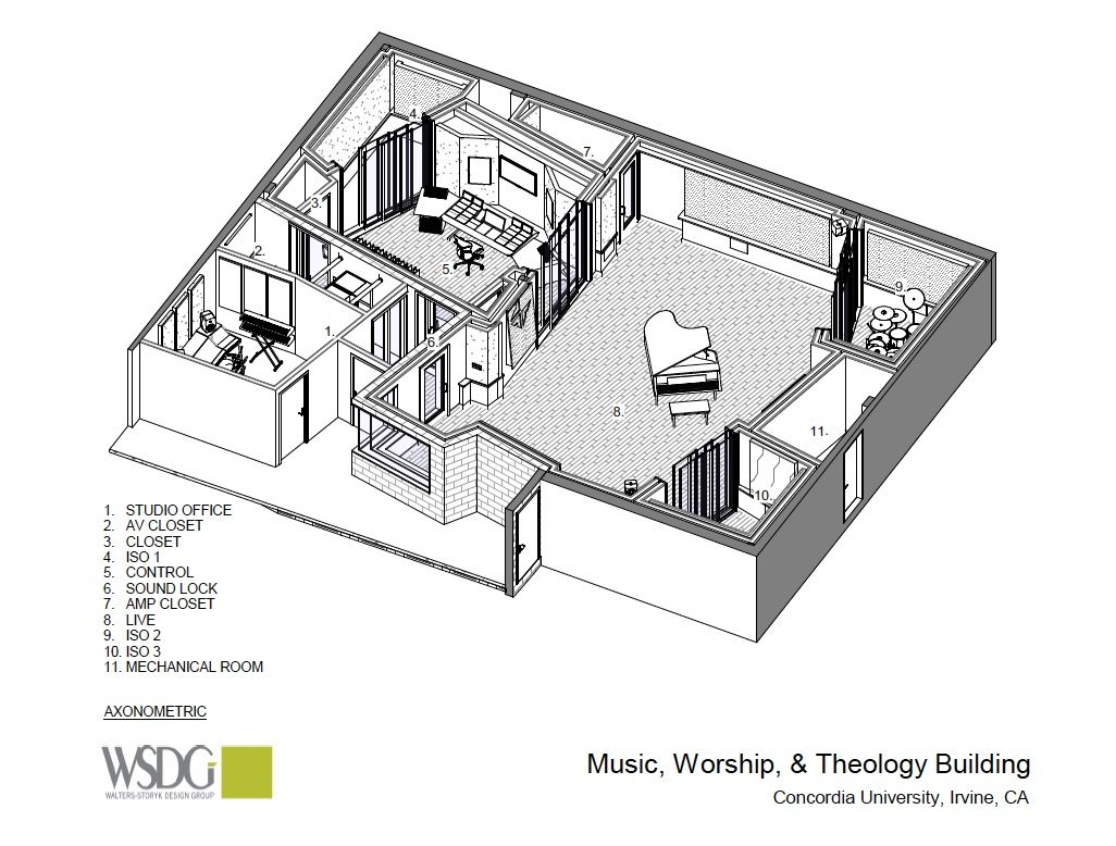 Music, Workshop, and Theology Building Rendering
