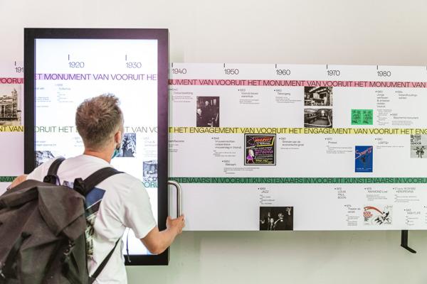 © Michiel Devijver De interactieve wand 'Timewalker' met de bouwkundige, sociale en artistieke geschiedenis van Vooruit, is één van de reeds gesubsidieerde projecten