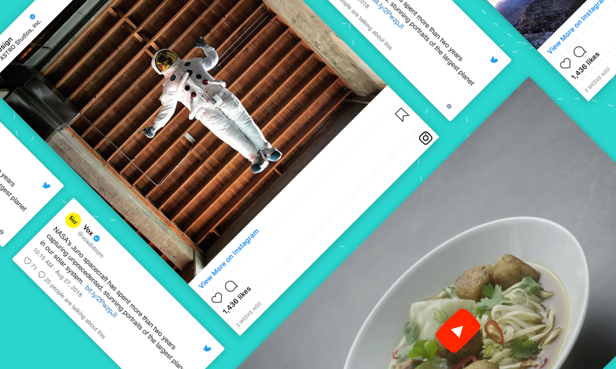 Create Stories & Campaigns with social posts, videos, GIFS, and more