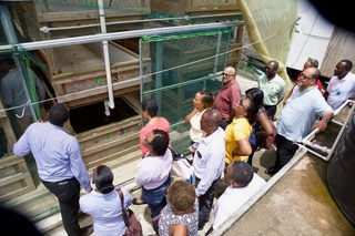 An OECS and wider delegation visit the aquaponics facility in Choiseul and desalination plant in Laborie.