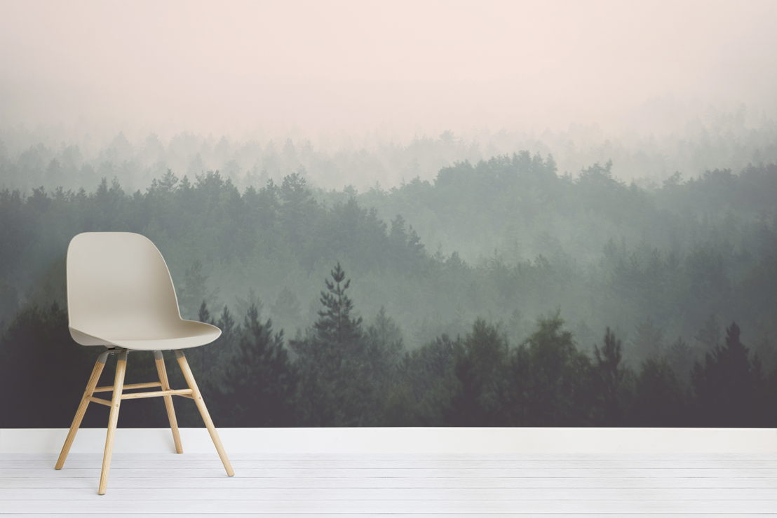Peach and Green Ombre Forest Wall Mural