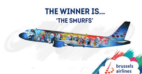 Les Schtroumpfs sur la 5ème Belgian Icon de Brussels Airlines
