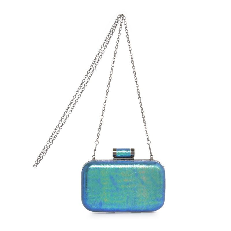 Metallic Blue Rave Camper Box Clutch Bag - €11