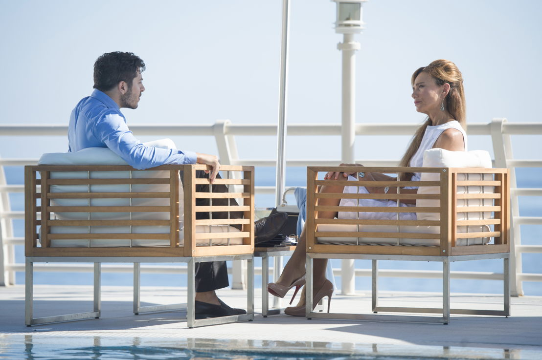 Riviera - Dimitri Leonidas &amp; Lena Olin<br/>(c) Sky UK Limited