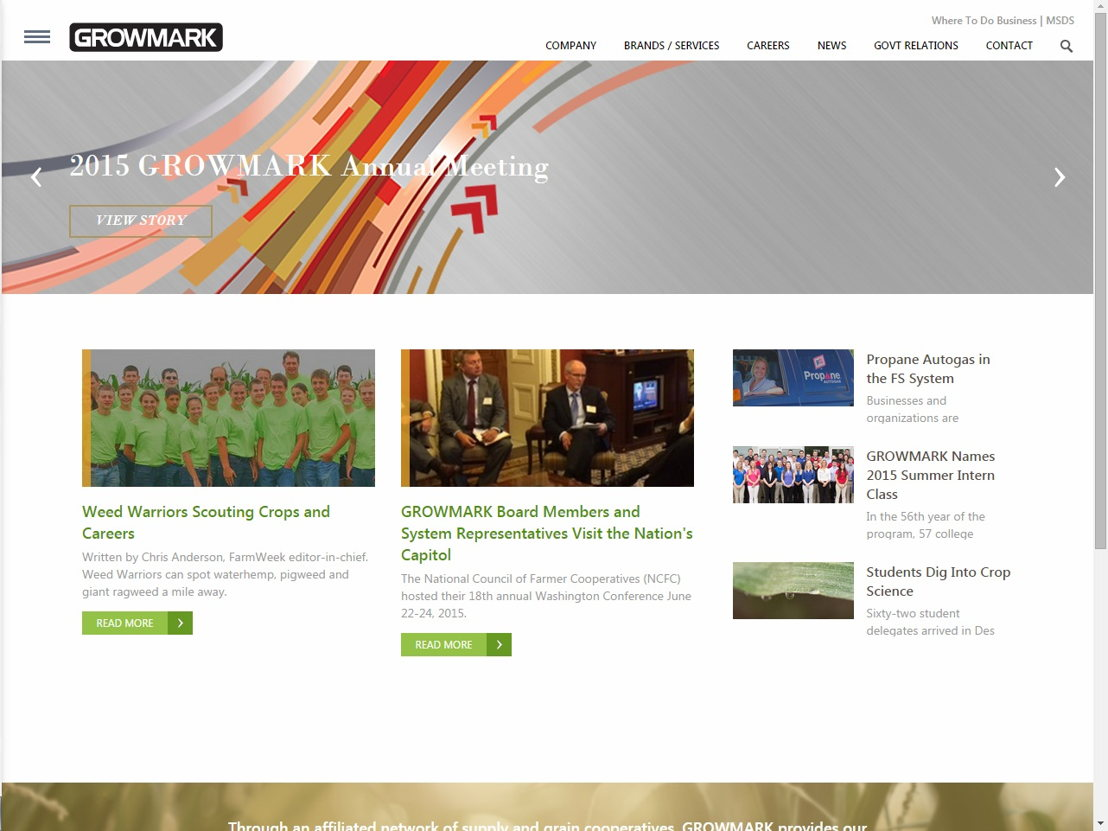 A screenshot of the new GROWMARK homepage.