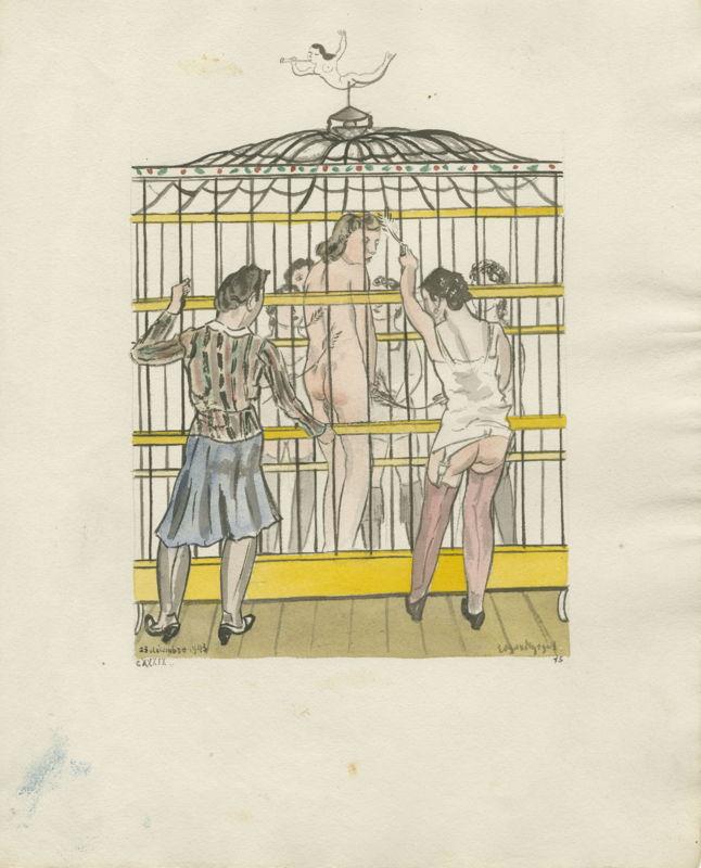 Edgard Tytgat, Huit dames et un monastère (verhaal/prentenreeks bestaande uit 5 delen), 1941-1947, aquarel op papier, 31 x 25,4 cm, privécollectie   © M-Museum Leuven<br/>(c) SABAM Belgium 2017
