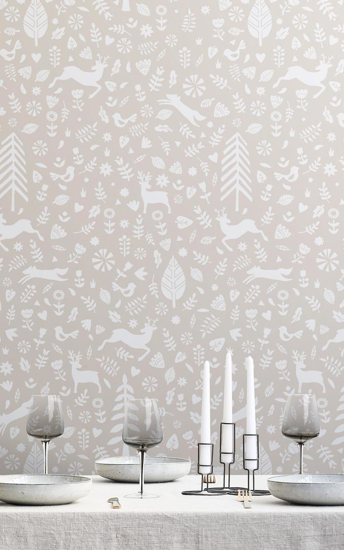 Un papel pintado de Navidad elegante para llevar toda la magia de las fiestas a los interiores